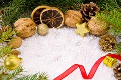 Weihnachtshintergrund mit unterschiedlichen Nüssen und Schnee Lizenzfreies Stockbild