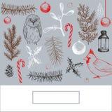 Weihnachtshintergrund mit Vögeln Stockfoto