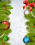 Weihnachtshintergrund mit verziertem Weihnachtsbaum Stockbilder