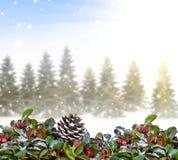 Weihnachtshintergrund mit Wald Lizenzfreies Stockfoto