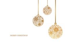 Weihnachtshintergrund mit Weihnachtsbällen mit Schneeflockenverzierung Frohe Weihnachten Stockfotos