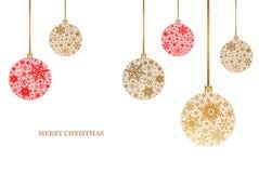 Weihnachtshintergrund mit Weihnachtsbällen mit Schneeflockenverzierung Frohe Weihnachten Stockfoto