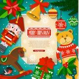Weihnachtshintergrund mit Weihnachtselementen, -spielwaren, -dekorationen und -schnee in der Karikaturart Stockbild