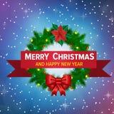Weihnachtshintergrund mit Weihnachtskranz Stockfoto