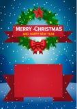 Weihnachtshintergrund mit Weihnachtskranz Stockfotos