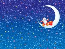 Weihnachtshintergrund mit Weihnachtsmann, der auf a sitzt Lizenzfreies Stockbild