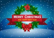 Weihnachtshintergrund mit Wreath Stockfotos