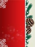 Weihnachtshintergrund, rote Karte mit den Zweigen, Kegel und Schneeflocken - ENV 10 Stockfotos