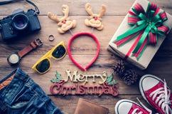 Weihnachtshintergrund und -kostüme für die Reise im Weihnachten stockfotografie