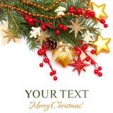 Weihnachtshintergrund - Weihnachtsbaum, Golddekoration Lizenzfreie Stockbilder