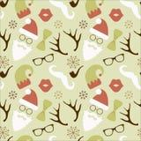 Weihnachtshippie-Retro- nahtloses Muster Lizenzfreie Stockfotos