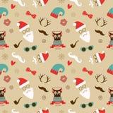 Weihnachtshippie-Retro- nahtloses Muster Lizenzfreies Stockbild