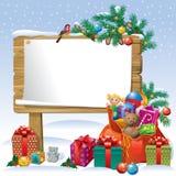 Weihnachtshölzerner Zeichenvorstand Stockbild