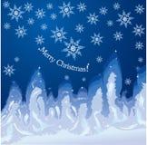 Weihnachtshoarfrosthintergrund auf Fensterglas Stockbilder