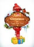 Weihnachtsholzschild Frohe Weihnachten und guten Rutsch ins Neue Jahr Feiertagsvektorillustration Lizenzfreie Stockfotos