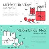 Weihnachtshorizontale Fahne mit linearer Art des Baums und der Geschenke Stockfoto