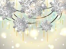 Weihnachtshorizontale Karte mit silbernen Schneeflocken vektor abbildung