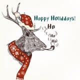 Weihnachtshumorhintergrund mit Rauchrotwild im roten Schal und im Hut Lizenzfreies Stockbild