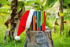 Weihnachtshut mit hölzerner farbiger Uhr Lizenzfreie Stockbilder