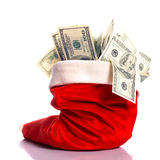 Weihnachtshut voll des Geldes Lizenzfreie Stockbilder