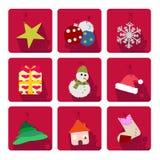 Weihnachtsikonen eingestellt Lizenzfreies Stockfoto