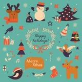 Weihnachtsikonen, Elementsatz Stockbild
