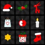 Weihnachtsikonen stellten, Illustrationen, für Netz oder bewegliche Anwendungen ein Stockfotos
