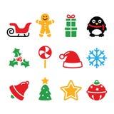 Weihnachtsikonen stellten - Sankt, Weihnachtsbaum, Geschenk ein Stockfotos