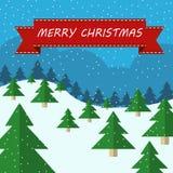 Weihnachtsillustration mit Bäumen Lizenzfreie Stockfotos
