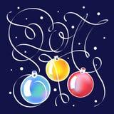 Weihnachtsillustration mit Beschriftung im Jahre 2017 Lizenzfreie Stockfotos