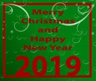 Weihnachtsillustration mit hängendem Spielzeug - flacher Hintergrund stock abbildung