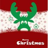 Weihnachtsillustration mit lustigen Rotwild Stockfoto
