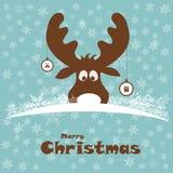 Weihnachtsillustration mit lustigen Rotwild Lizenzfreies Stockfoto