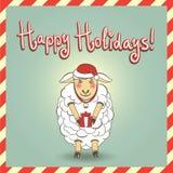 Weihnachtsillustration mit netten Schafen Lizenzfreie Stockfotos