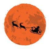 Weihnachtsillustration von Sankt und von seinem Ren auf Vollmond-Hintergrund vektor abbildung