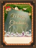 Weihnachtsillustrationsrahmen mit Winterdorf Stockfoto