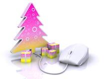 Weihnachtsinternet-Einkaufen Stockfoto