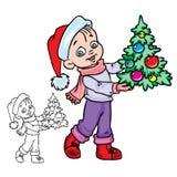 Weihnachtsjunge mit einem Baum lizenzfreie abbildung