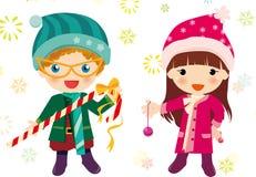 Weihnachtsjungen und -mädchen Stockfotografie