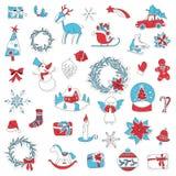 Weihnachtskönnen gesetzte Ikonenaufkleber für Einführung benutzt werden Lizenzfreie Stockfotos