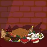 Weihnachtsküche-Nahrungsmittelhintergrund lizenzfreie abbildung