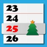 Weihnachtskalender mit einem gleitenden Baum Lizenzfreie Stockfotografie