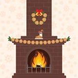 Weihnachtskamin in der flachen Art der bunten Karikatur Orange Girlande Frohe Weihnachten und guten Rutsch ins Neue Jahr Lizenzfreies Stockfoto