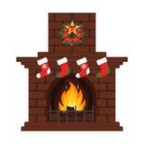 Weihnachtskamin in der flachen Art der bunten Karikatur Weihnachtsabend, unsere Strümpfe Frohe Weihnachten und guten Rutsch ins N Lizenzfreies Stockbild