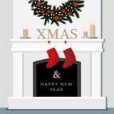 Weihnachtskamin, festlicher verzierter Innenraum, Haus, flaches Design Lizenzfreie Stockfotografie