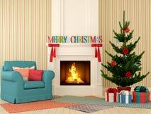 Weihnachtskamin mit blauem Stuhl und Baum Stockfotografie