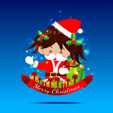 Weihnachtskarikatur kleines Mädchen mit Santa Suit 002 Stockbild