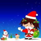 Weihnachtskarikatur kleines Mädchen mit Santa Suit Lizenzfreies Stockfoto