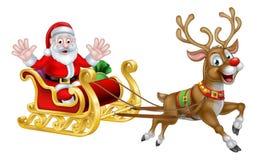 Weihnachtskarikatur Sankt und Ren-Pferdeschlitten Stockfoto