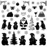 Weihnachtskarikatur, stellte schwarze Schattenbilder ein Stockfotos